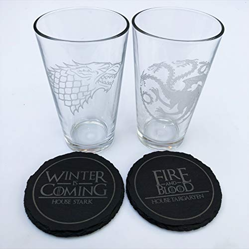Coasters Glass Etched - Game of Thrones - Etched Pint Glass and Slate Coaster Set of 4