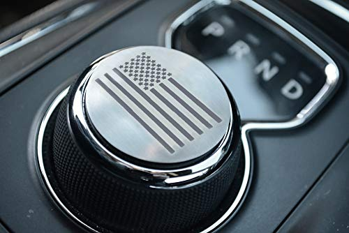 Dial Shifter Trim Plates Etched Brushed Stainless - Fits Chrysler 300/200/Pacifica, Dodge Ram 1500 & Durango | 3 Styles Etched Flag, Tattered Flag, Patriot Skull (Etched American Flag)