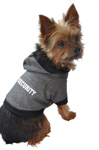 Ruff Ruff and Meow Dog Hoodie, Security, Black, Extra-Large