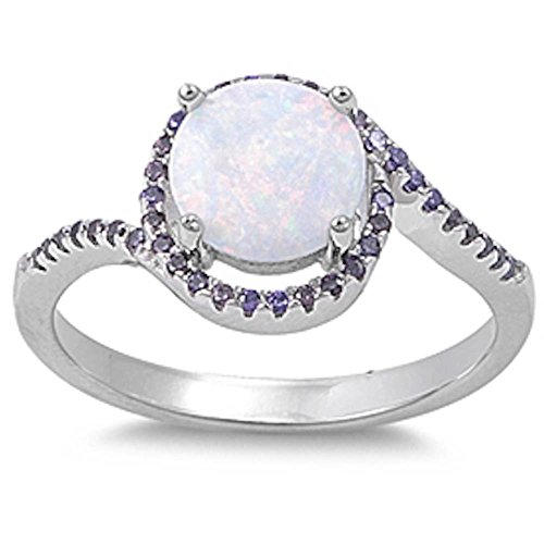 Round Lab Created White Opal & Simulated Amethyst .925 Sterling Stainless Steel Ring Size 5 (Steel Created Stainless Ring Amethyst)