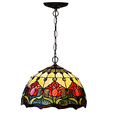 Tiffany Style Hanging Lamp Tulip Pattern Stained Glass
