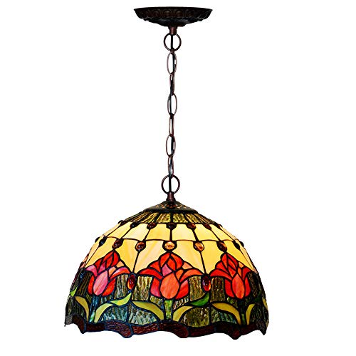 Tiffany Style Hanging Lamp, Tulip Pattern Stained Glass Lampshade Ceiling Light Fixture, Pendant Lighting for Bedroom Kitchen Island, 12 Inch, E271 ()
