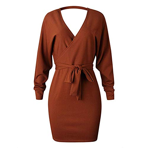 V Backless Batwing Sweater Sleeves Caramel Style Bodycon Belt Sexy Dress Neck with Oops Women's Long fAtq0X0