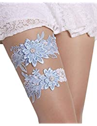 40c09bf8f Wedding Garter Set Lace Garters Belt Bride Women White Blue Garter Size  Optional