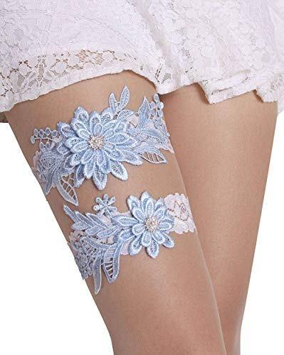 Wedding Garters for Bride Bridal Lace Garter Set with Rhainestone Pearls (Blue) ()