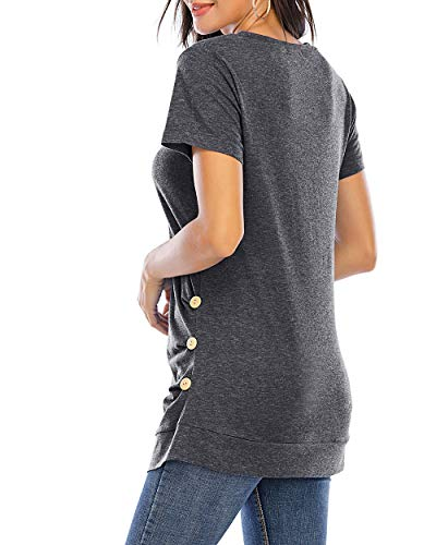 CIZITZZ Women's Short Sleeve V neck T Shirts Tunic Tops Loose Fit MGR L