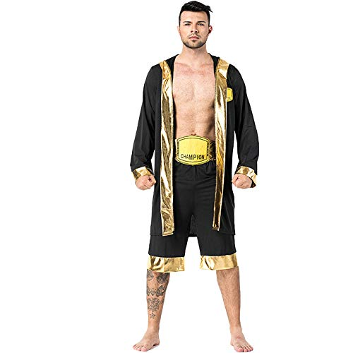 (LOLANTA Adult Man Boxing Costume Knock Out Hooded Boxer Robe Halloween Boxing)
