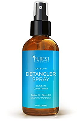 Purest Naturals Hair Detangler Spray - Best Nutrient Rich Leave-In Conditioner For All Hair Types - Natural & Organic Ingredients - With Castor & Neem Oils, Aloe Vera & Vitamin E
