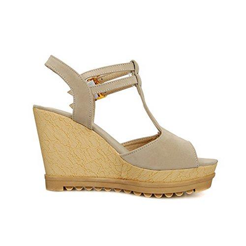 AgooLar Women's Buckle High Heels Imitated Suede Solid Open Toe Sandals Beige FQqNQ