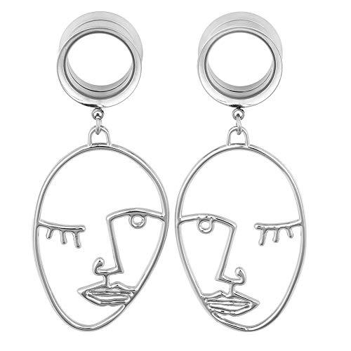 Oyaface Stainless Steel Ear Plug Tunnel Gauge Stretcher Piercing Face Design Pendant 0g(8mm) (Design Plug Ear)