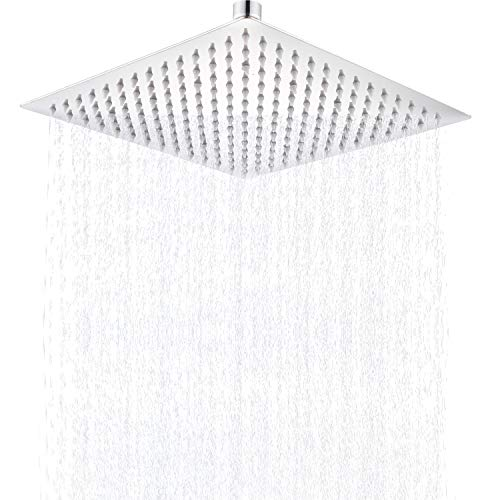 Senlesen Large Bathroom Ceiling Mounted 16-inch Square Ultrathin Rainfall Top Shower Head Chrome