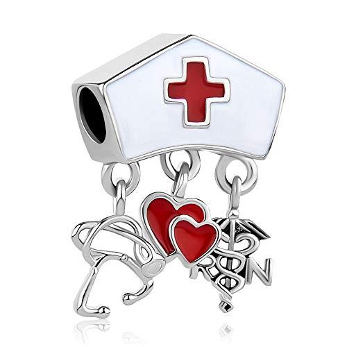 Lifequeen Heart RN Nurse Charms Dangle Charm Beads for Bracelets (Nurse Hat) (Pandora Nurse Charm)