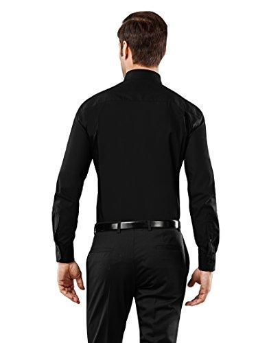 Stiro Boretti non Tinta Collo Aderente Vincenzo Manica nero Uomo iron Camicia Unita fit Classico Eleganti Taglio slim Non 3 In Lunga fxTawA
