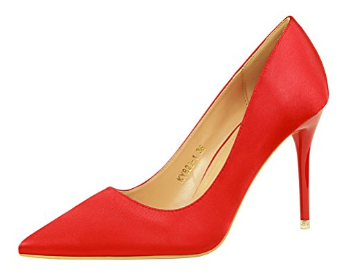 [T&Mates Womens Elegant Sexy Versatile Pointed Toe Stiletto High Heeled Pump Satin Prom Shoes (6] (Spotlight Womens Pirate Costume)
