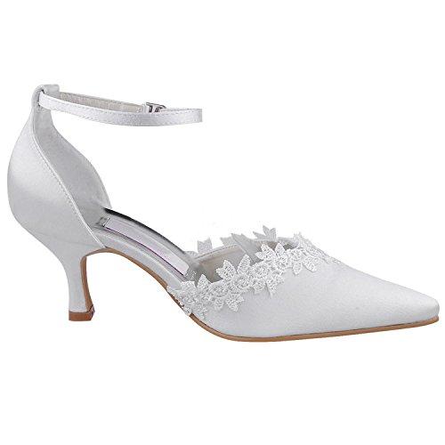 Da Kevin nbsp;pointy Pizzo Sera Party Mz595 Pompa Donna Sposa White Toe In Fashion Fibbia Scarpe Med Tacco rXwqpX