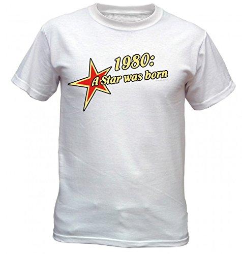 Birthday Shirt - 1980 A Star was born - Lustiges T-Shirt als Geschenk zum Geburtstag - Weiss