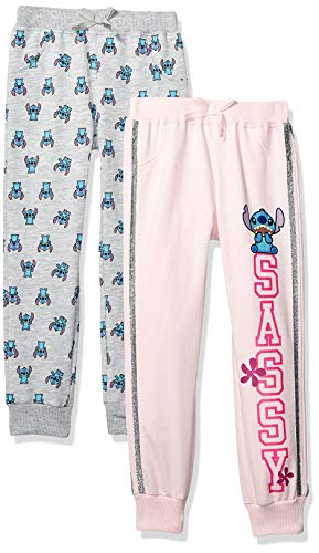 Disney Girls' Little Lilo & Stitch 2 Pack Jogger Set, Pink/Grey 5