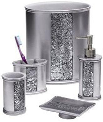 Amazon Com Popular Bath Sinatra Silver Pc Bath Accessory Set