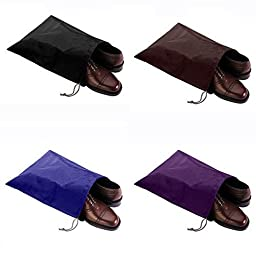 HugeSaving High Quality Nylon Waterproof Travel Shoe Bags Drawstring Shoes Bag For Carrying Set Of 4 (Multicolor)