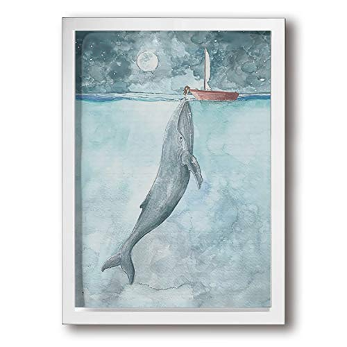 Colla Watercolor Art Whale Sailboat A Perfect Wall Decorations Paintings For Living Room, Bedroom, Kitchen, Office ()