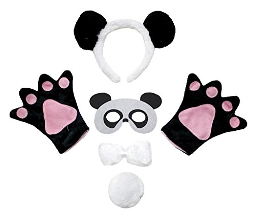 Petitebella Animal Headband Bowtie Tail Gloves Mask 5pc Children Costume (Panda) -