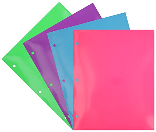 Emraw Laminated Fashion Neon Colored 2 Pocket File Portfolio Folder - Used for Papers, Loose-Leafs, Business Cards, Compact Discs, Etc. - Folders Loose Leaf