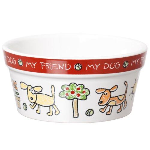 Signature Housewares Color Me Happy Dog Bowl, Large, My Pet Supplies
