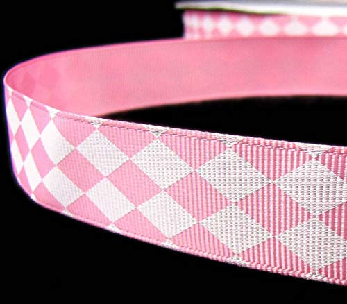 5 Yd Valentine Light Pink White Diamond Checked Argyle Grosgrain Ribbon 7/8