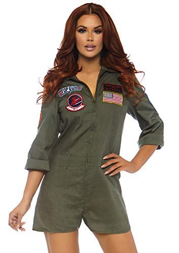 Leg Avenue Top Gun Licensed Womens Romper Flight Suit Costume, Khaki, Large