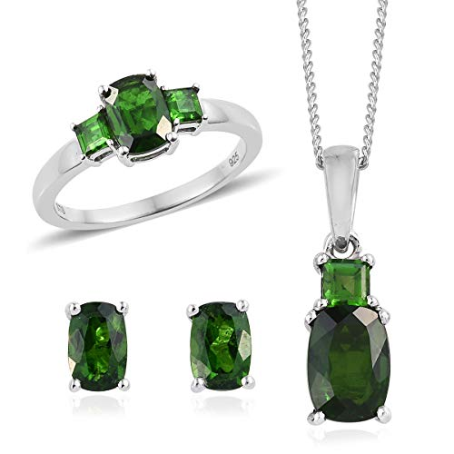 Silver Platinum Plated Cushion Chrome Diopside Ring Size 7 Earrings Pendant Necklace Set 20