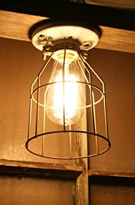 Industrial Metal Wire Cage Guard - Vintage Style Aged Cage - Light Bulb Guard by Industrial Rewind