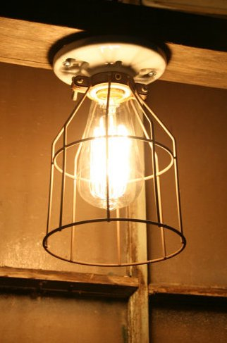 Industrial Metal Wire Cage Guard - Vintage Style Aged Cage - Light ...