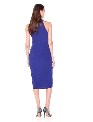 Maggy London Womens Petite Solid Knot Front Midi Sheath