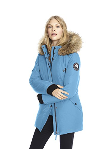Alpinetek Women's Down Mid Length Parka Coat (Small, Turquoise)