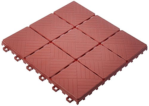 Imperial Home Interlocking Deck Tile Patio Pavers, 11 x 11 Easy Set Up Outdoor Walkway Pavers (Set of 12) (Brick Color) (Patio And Designs Brick Paver)