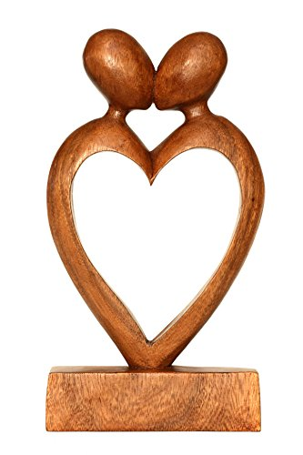 "G6 Collection 12"" Wooden Handmade Abstract Sculpture Statue Handcrafted Loving You Gift Art Decorative Home Decor Figurine Accent Decoration Artwork Handcarved"