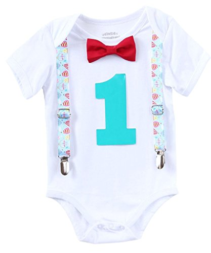 Air Balloon Theme Baby Boys First Birthday Party Outfit Red Bow Turquoise Number One 12-18 Months (1st Air)