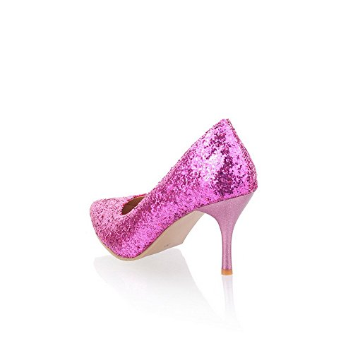 Pointed Stiletto Solid PU Women's Purple Closed Toe WeiPoot Pumps High Sequin Frosted En7WqpnFS
