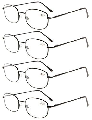 Eyekepper Lot de 4 Lunettes de lecture / Lunettes de vue / Monture en metal Noir