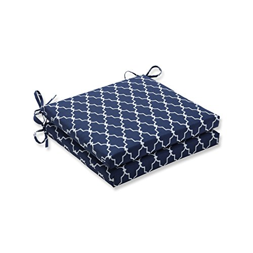 Pillow Perfect Outdoor/Indoor Garden Gate Navy Squared Corners Seat Cushion 20x20x3 (Set of 2) (Furniture Outdoor Gate)
