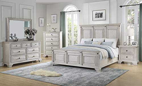 Cambridge 98118A5Q1-WH Heritage Queen Bed, Dresser, Mirror, Chest, and Nightstand, Light Wash 5-Piece Bedroom Suite