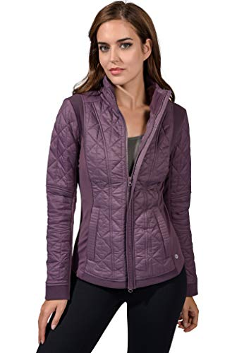 90 Degree By Reflex Womens ColdGear Warm Fleece Brushed Inside Jacket Top - Mulberry Quilted Jacket - Large