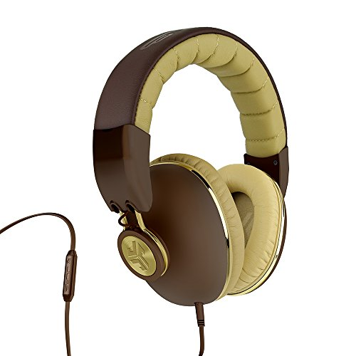 JLab Audio Bombora Over-Ear Headphones with Universal Mic, Matte Brown/Gold