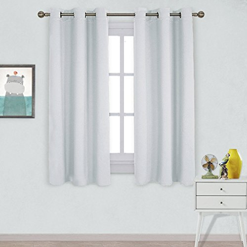 NICETOWN Window Treatment Thermal Insulated Grommet Room Darkening Curtains Drapes for Bedroom(2 Panels,42 by 63,Platinum-Greyish White) - Discount Curtains Window Treatments