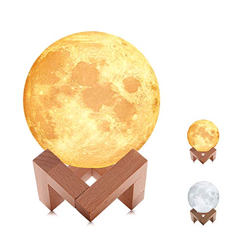 Moon Lamp, 3D Moon Light, Warm and Cool White, Stepless Dimmable Touch Control, Home Night Light with USB Charging, PLA...