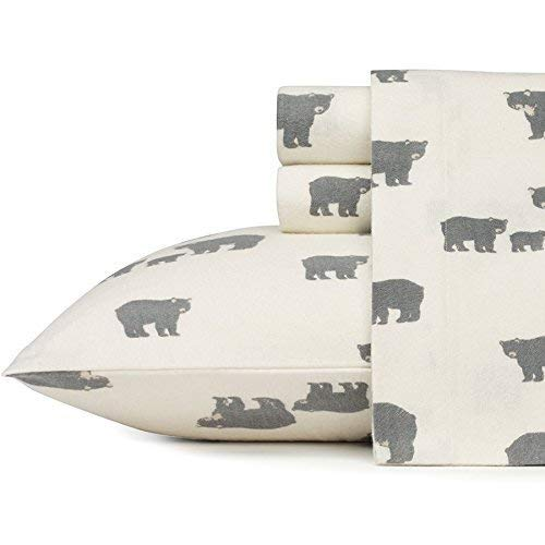 Eddie Bauer Bear Family Flannel Sheet Set, Queen, Gray