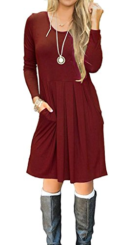 I2CRAZY Women's Casual Pleated Loose Swing T-Shirt Dress with Pockets Knee Length(06-Long Sleeve-Wine Red,S) by I2CRAZY