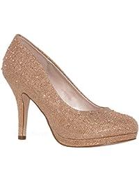 Women's Stylish Round Toe Dressy Mid Heel Pump