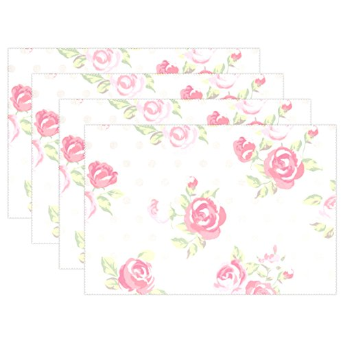 (U LIFE Vintage Victorian Roses Polka Dots Plate Place Mats Placemats Placemat Tray Mat 12 x 18 Inch)