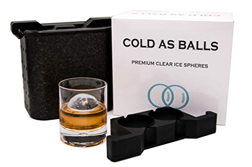 COLD AS BALLS Premium Crystal Clear Ice Sphere System for the True Whiskey, Bourbon or Cocktail Enthusiast – BPA Free FDA Approved Silicone Ice Tray Molds – Perfect as Whiskey Gift Set
